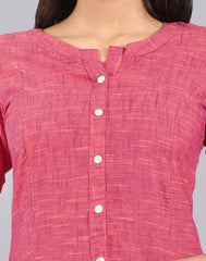 Fuchsia Purple Slub By Slub Straight Cut Kurta