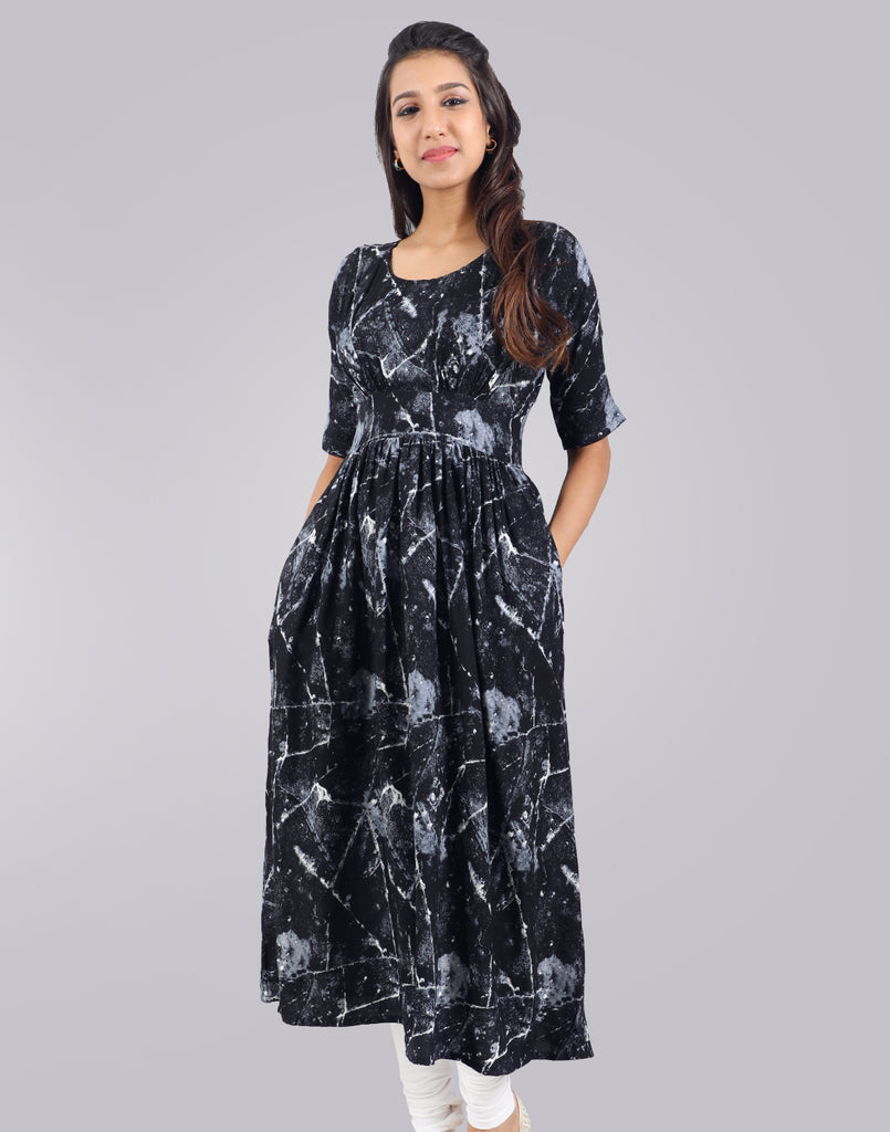 Black Rayon Kurta Dress From eSTYLe