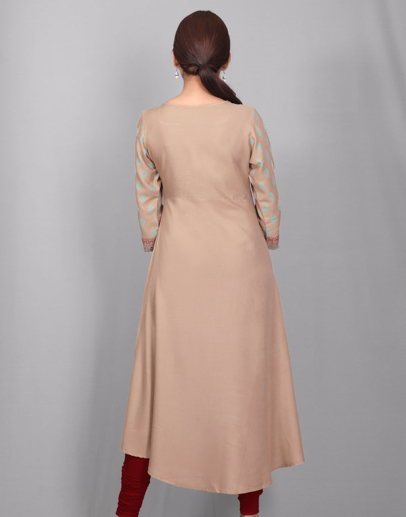 Brown Rayon Anarkali Kurta