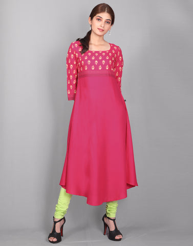 Bright Rose Rayon Anarkali Kurta