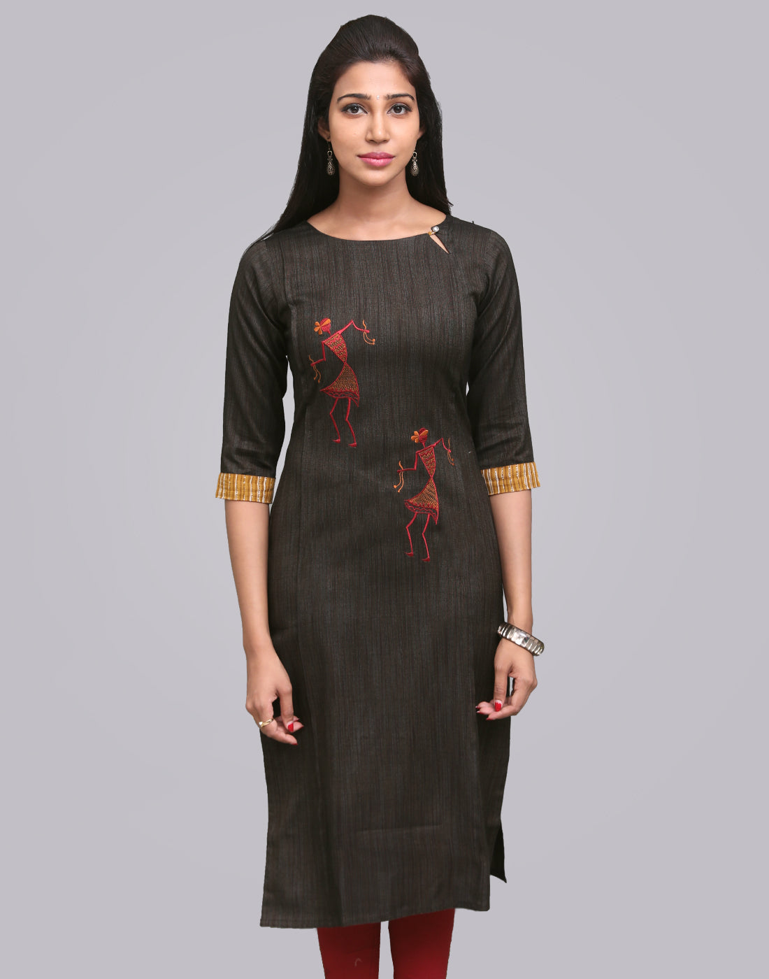 Pirate Black Slub Zarna Straight Cut Kurta