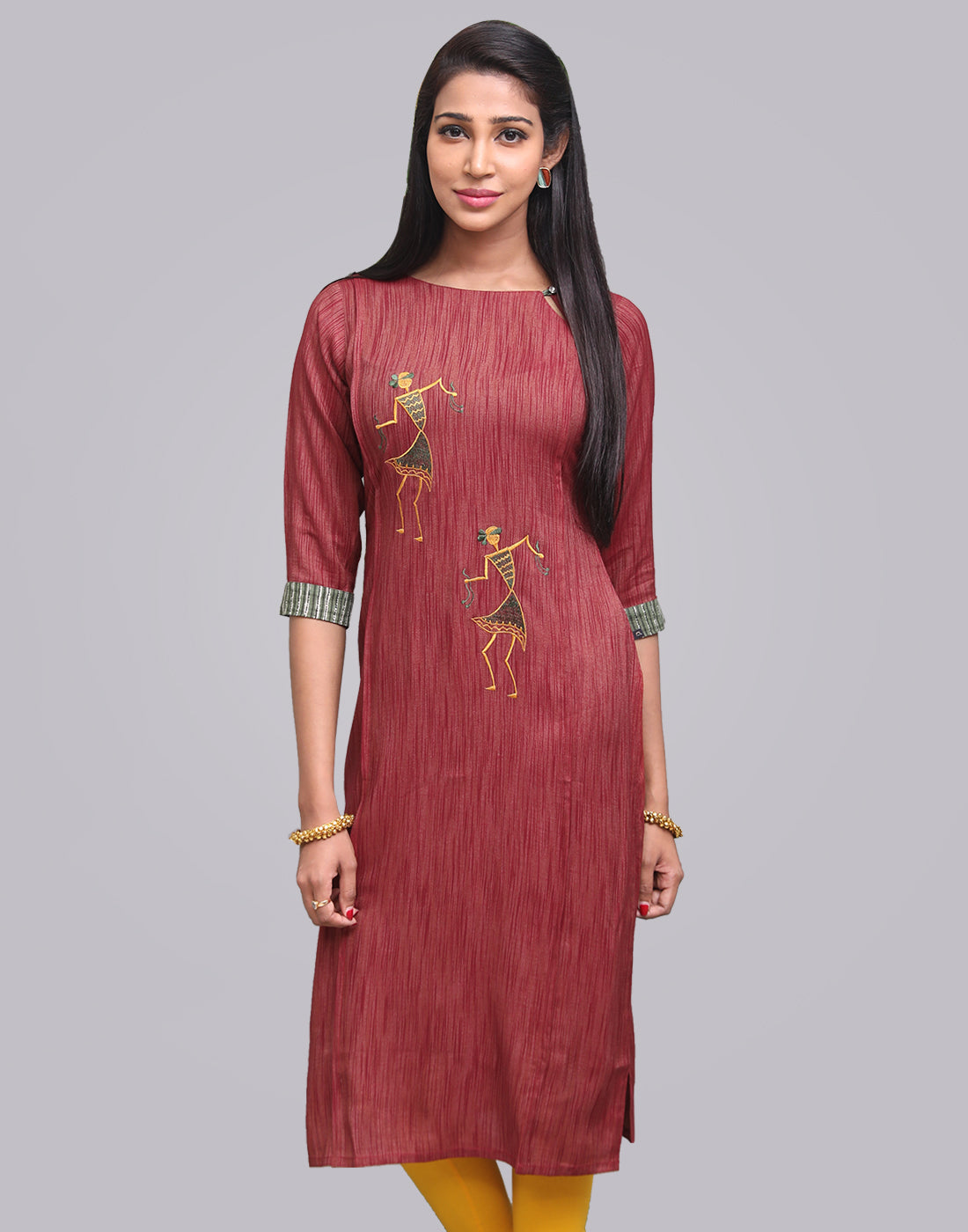 Brick Red Slub Zarna Straight Cut Kurta
