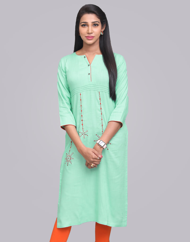 Ice Green Rocket Rayon Slub Straight Cut Kurta