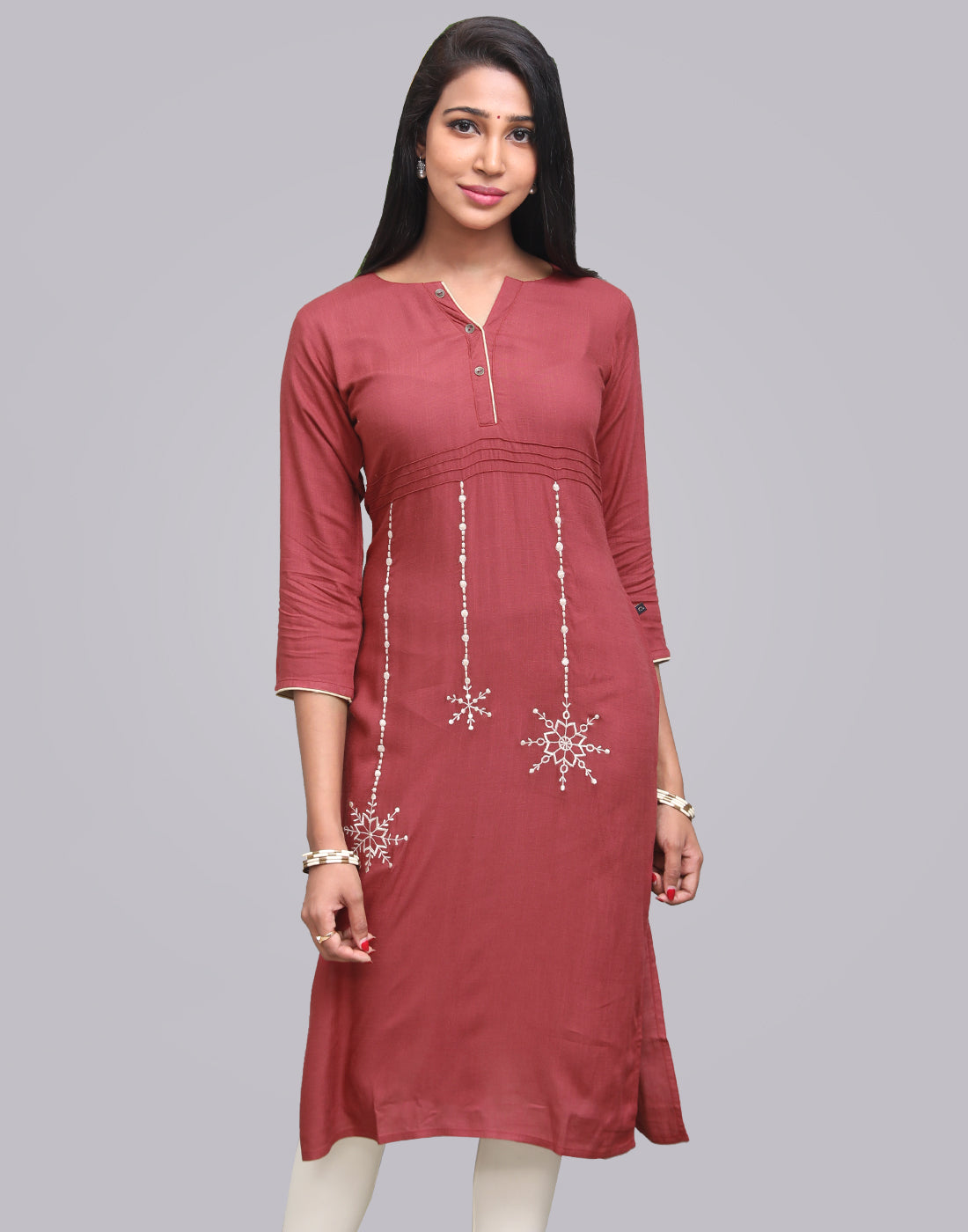 Biking Red Rocket Rayon Slub Straight Cut Kurta