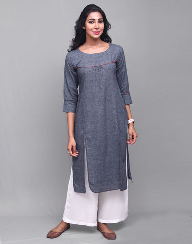 Navy Blue Delave Linen Straight Cut Kurta