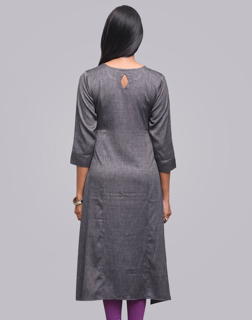 Dark Gull Grey Lafer Linen Asymmetric Kurta