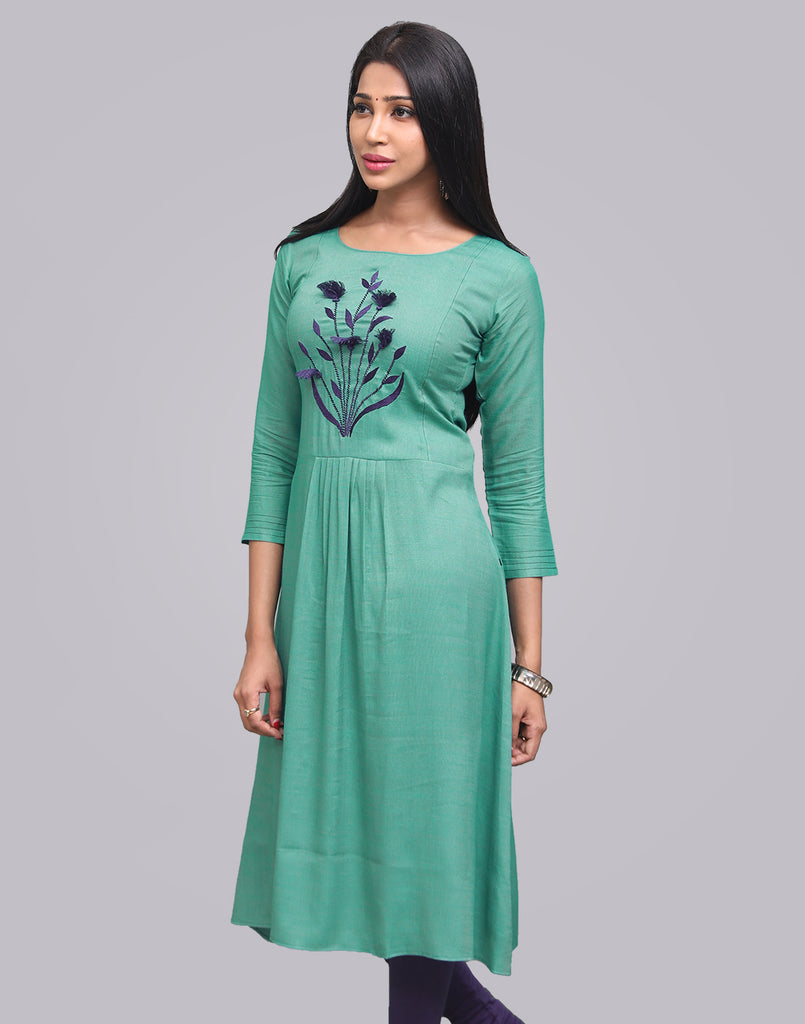 Coffee Green Cross Rayon Slub Anarkali Kurta
