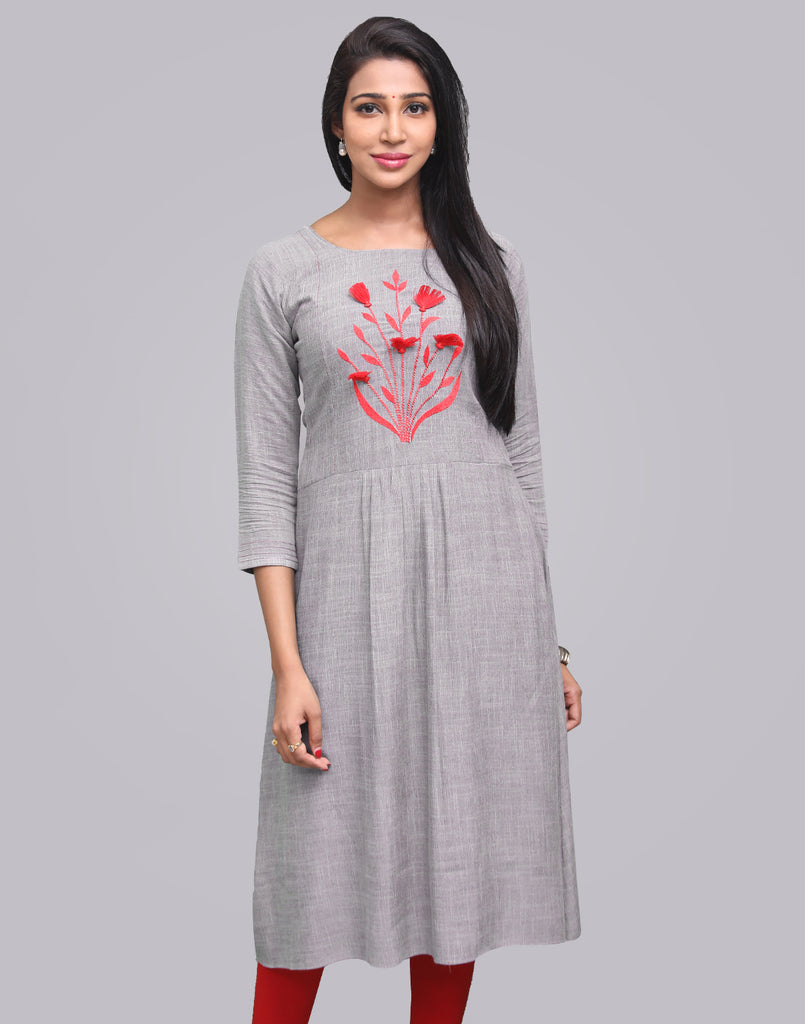 Frost Grey Cross Rayon Slub Anarkali Kurta