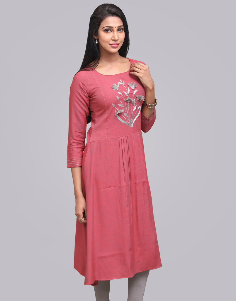 Jester Red Cross Rayon Slub Anarkali Kurta