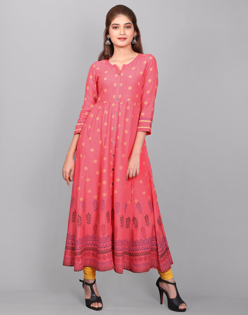 Pink 'N' Orange Rayon Anarkali Kurta