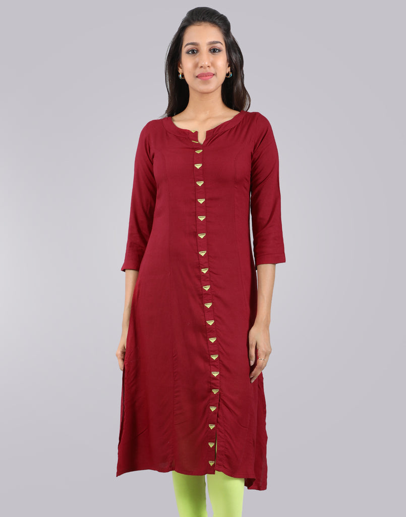 Brick Red Straight Cut Kurta