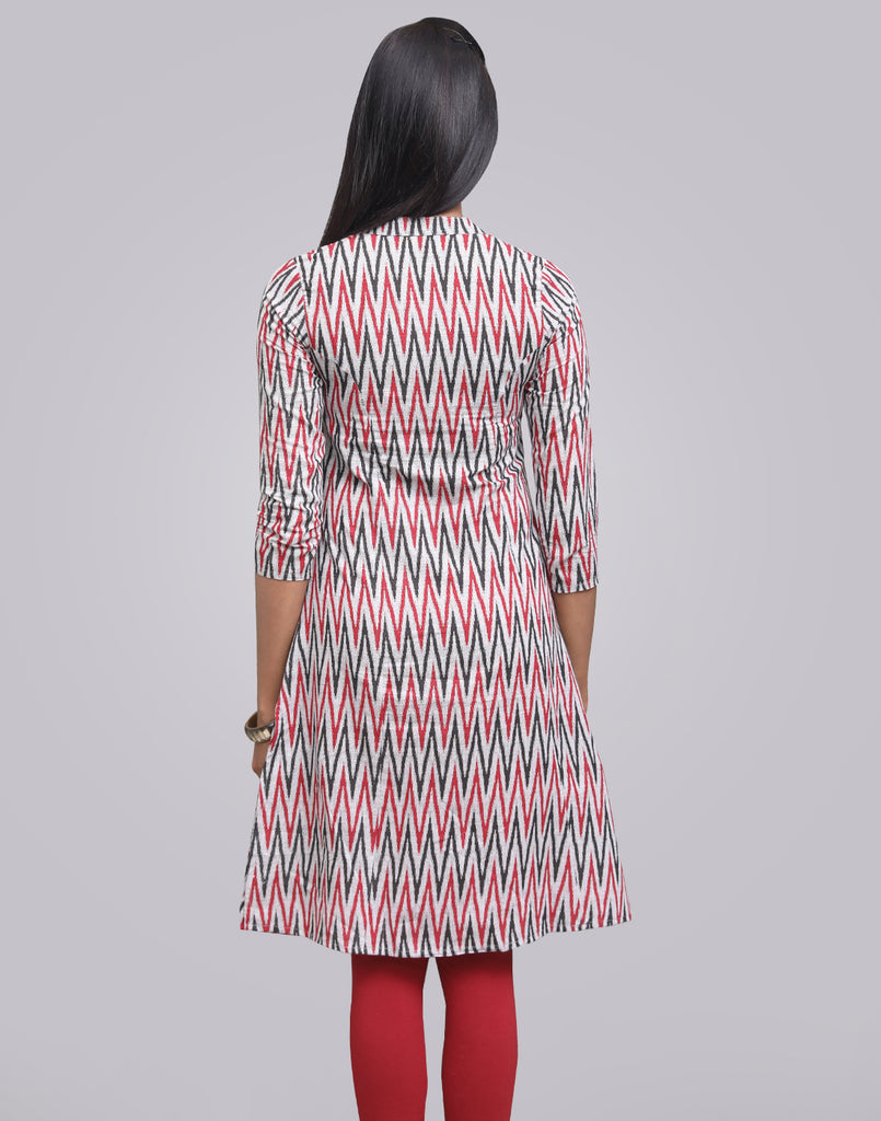 Ash Grey Cotton Printed A-Line Kurta