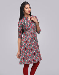 Raven Black Cotton Printed A-Line Kurta