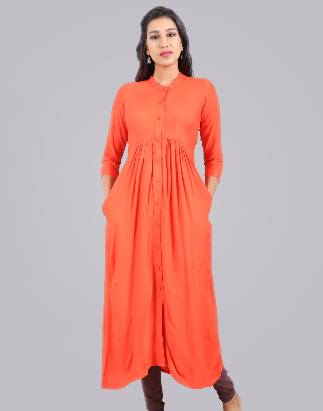 Red Orange Rayon Pocket Kurta Dress