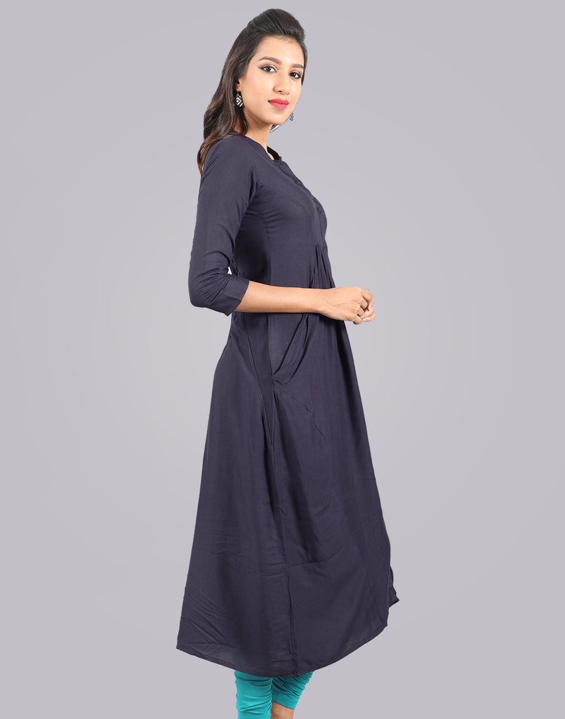Royal Blue Rayon Pocket Kurta Dress