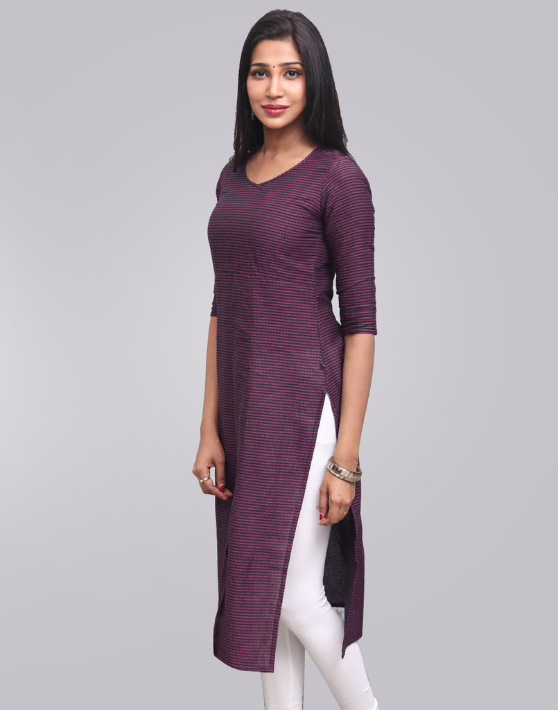 Sparkling Grape Stripes Pattern Straight Cut Kurta