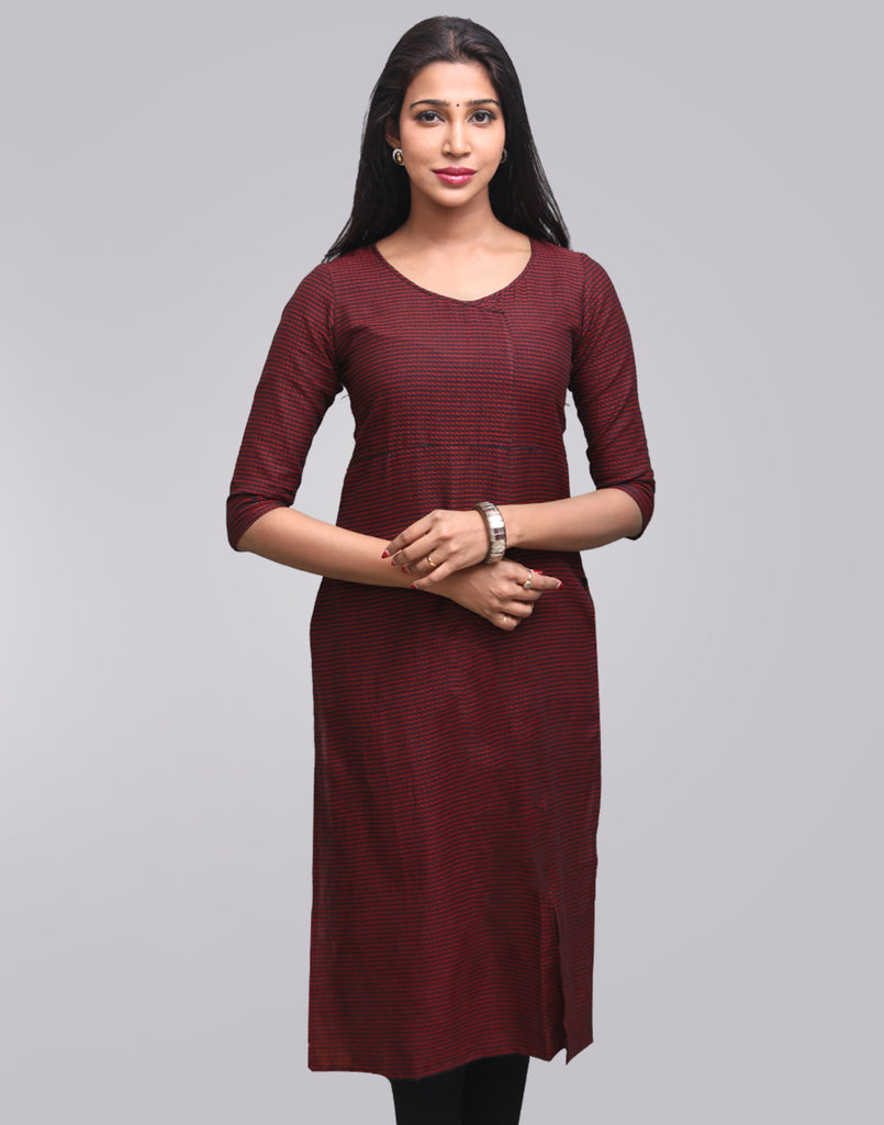 Rust Red Stripes Pattern Straight Cut Kurta