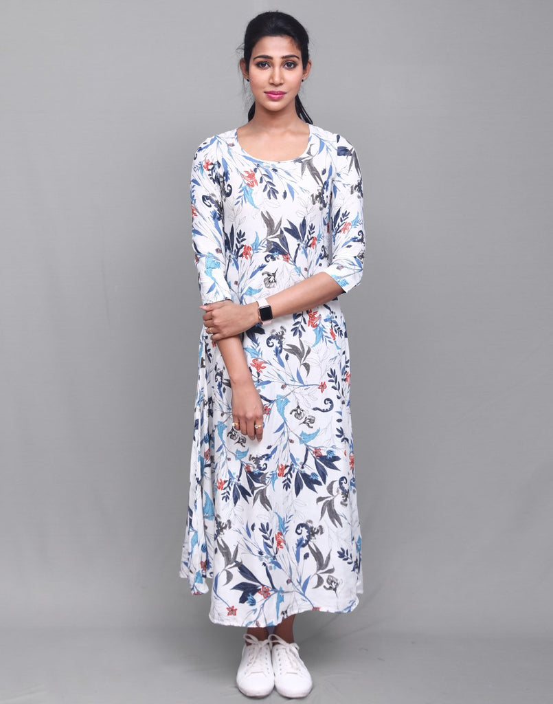Off White 'N' Blue Modal Anarkali