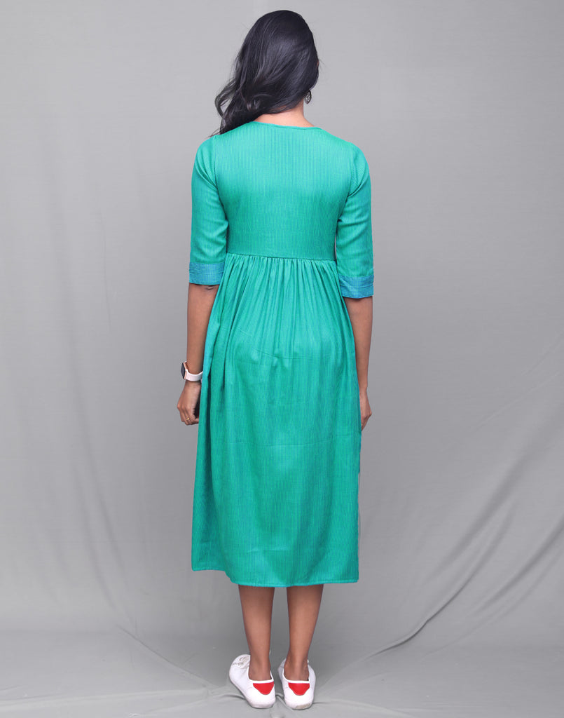 Teal Blue Rayon Striped Pocket Dress