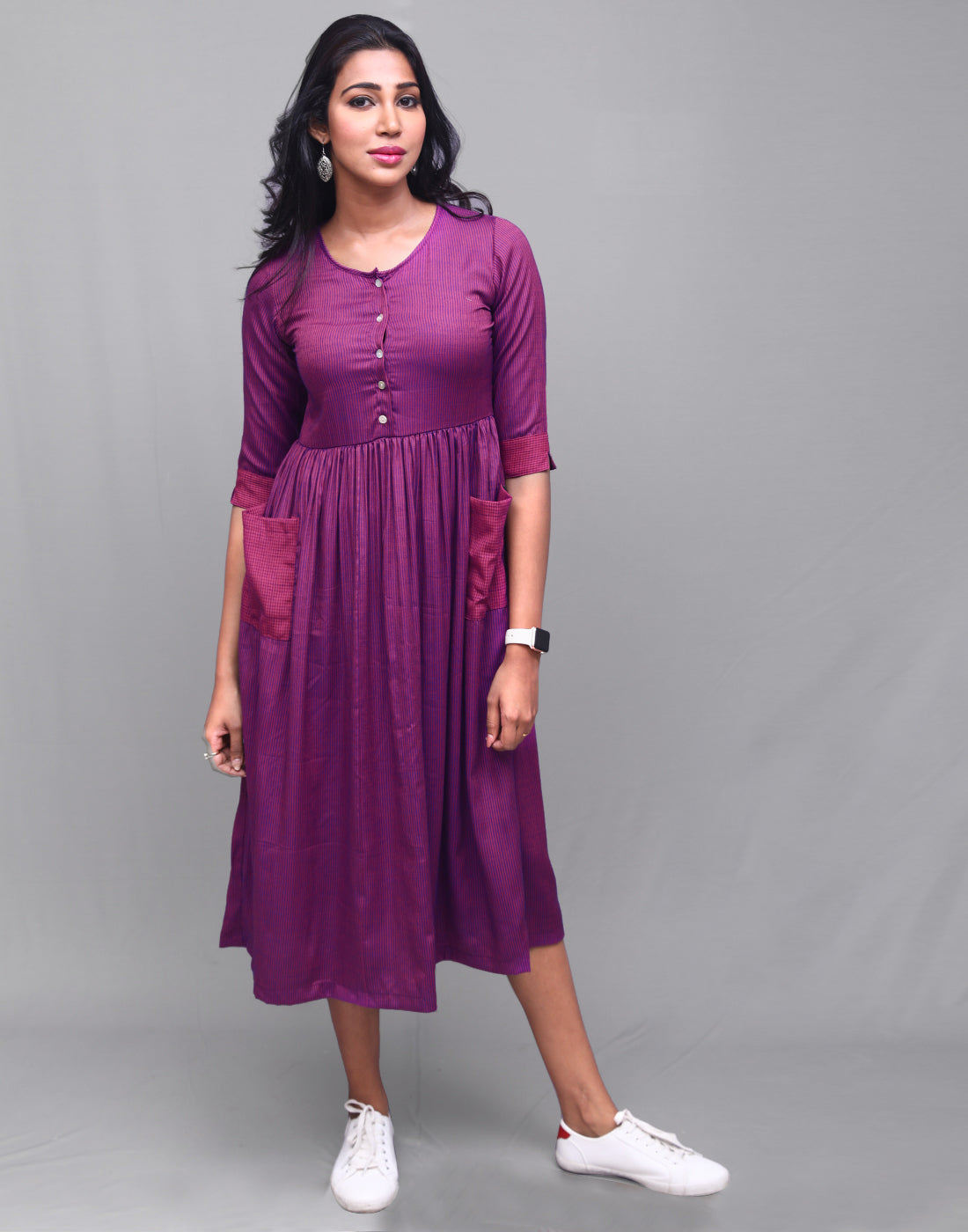 Magenta Rayon Striped Pocket Dress