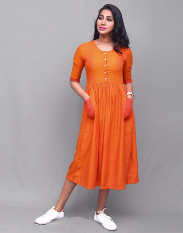 Orange Rayon Striped Pocket Dress
