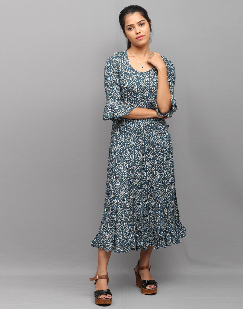 Indigo Retro Printed Anarkali with Pleating Work