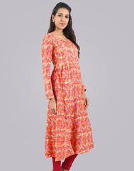 Orange Peel Rayon Printed Anarkali Kurta