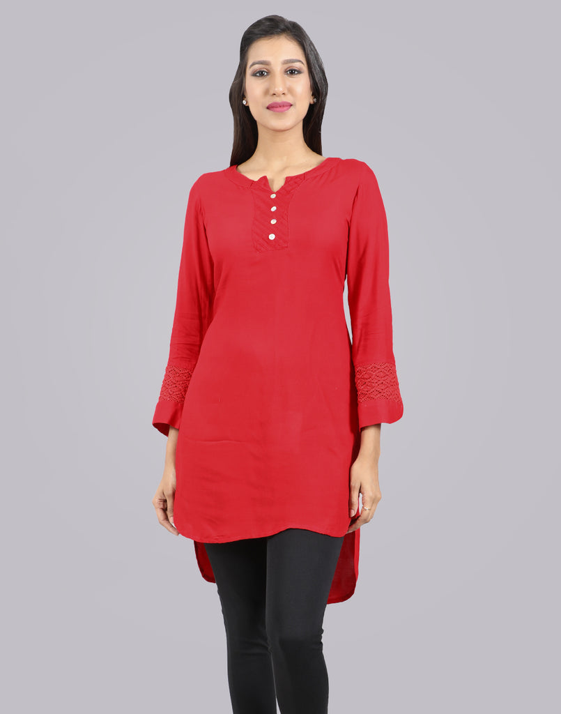 Chinese Red Rayon Hi-Low Short Kurta