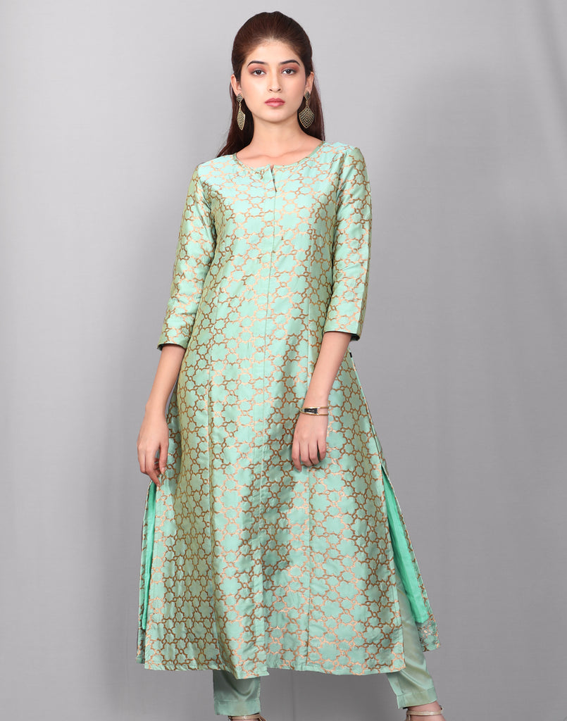 2Pcs Set - Mist Green Jonpuri Jacquard Kurta With Cigarette Pant