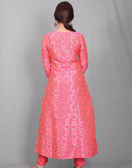 2Pcs Set - Raspberry Jonpuri Jacquard Kurta With Cigarette Pant