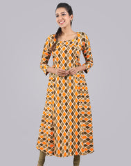 Spectra Yellow  Smokey Rayon Anarkali Kurta