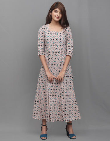 Coral Cloud Printed Cambric Anarkali Kurta