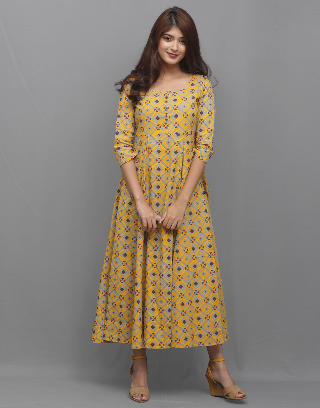 Spectra Yellow Printed Cambric Anarkali Kurta