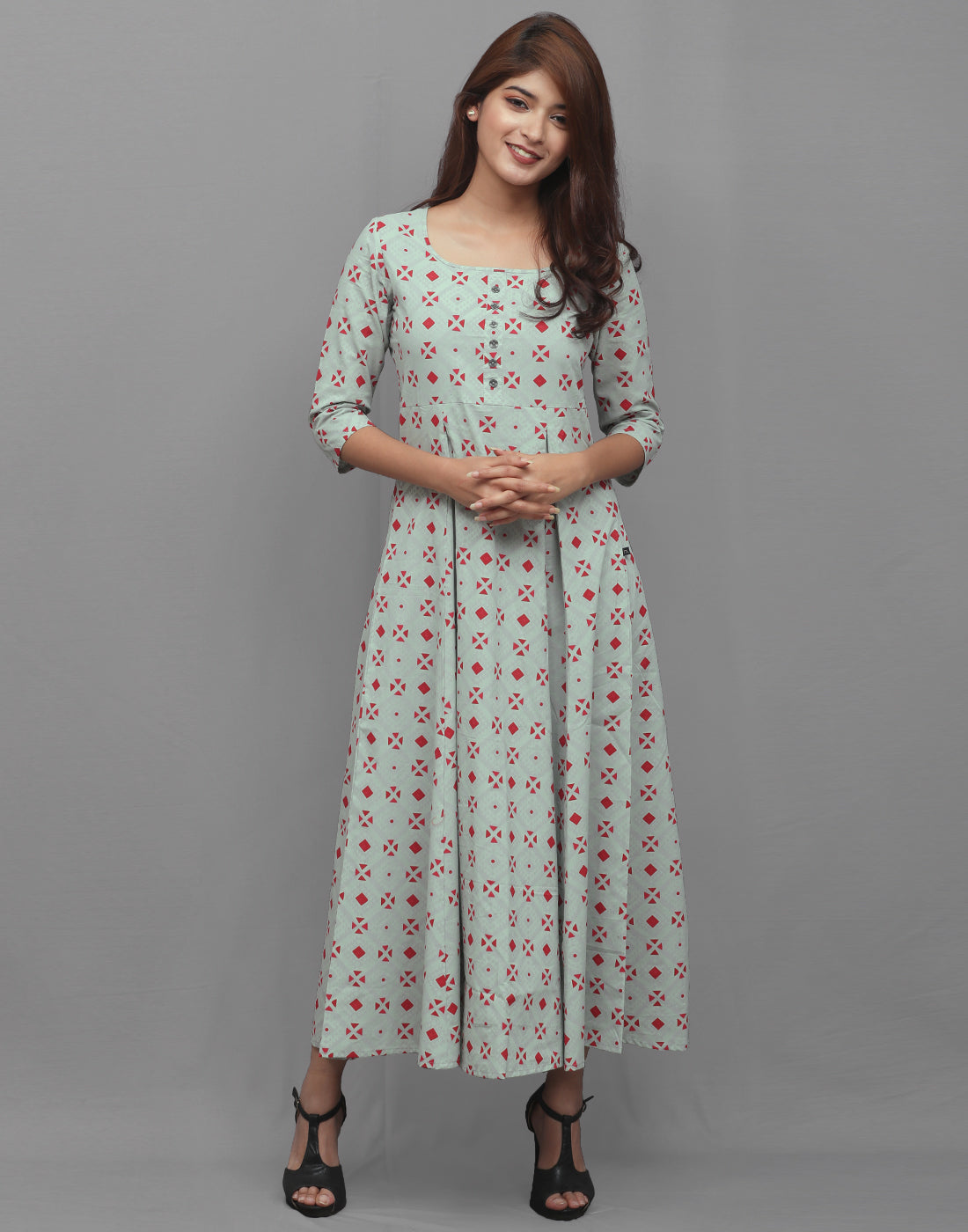 Smoke Green Printed Cambric Anarkali Kurta
