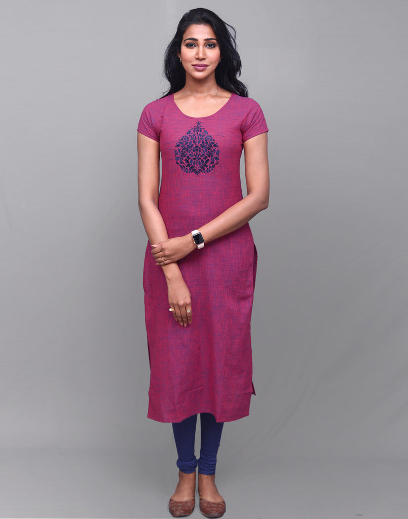 Lilac Rose Slub By Slub Straight Cut Kurta