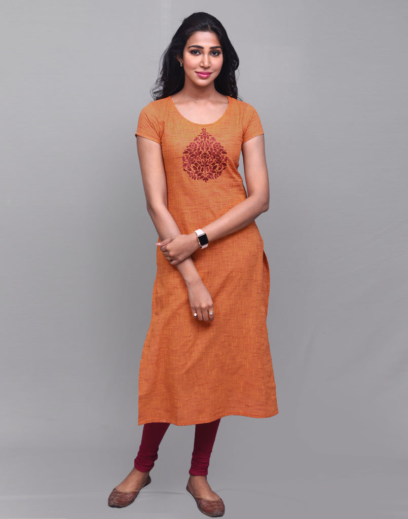 Mustard Slub By Slub Straight Cut Kurta