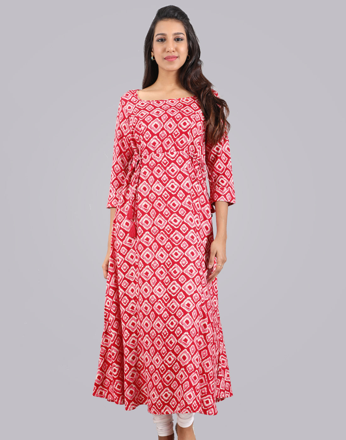 Georgia Peach Smokey Rayon Anarkali Kurta