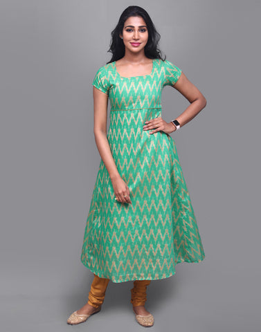 Jelly Bean Chevron Pattern Anarkali Kurta