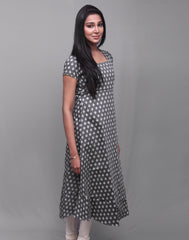Dark Gull Gray Dollar Butti Anarkali Kurta
