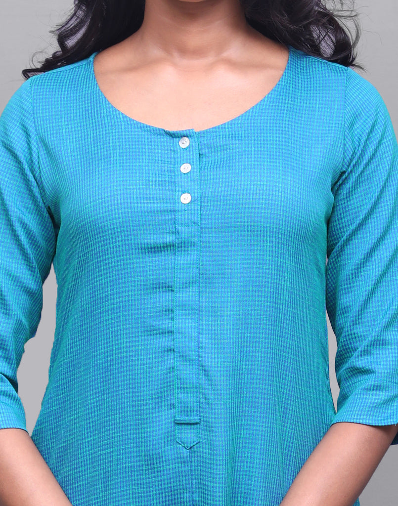 Teal Blue Rayon Straight Cut Kurta