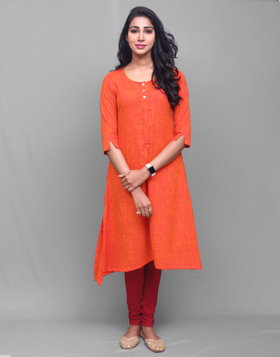 Orange Rayon Straight Cut Kurta