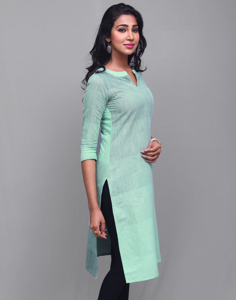 Brook Green Cotton Striped Kurta