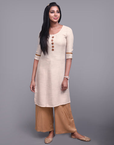 Cream Rayon Plus Straight-Cut Kurta