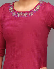 Hot Pink Embroidered Trail cut Asymmetric Kurta