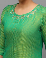 Dual Tone green Embroidered Trail cut Asymmetric Kurta