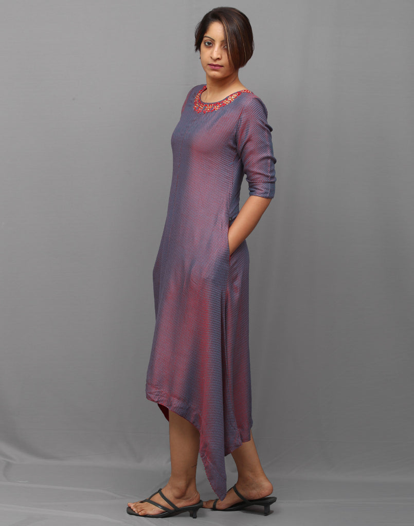 Twin tone purple Embroidered Trail cut Asymmetric Kurta