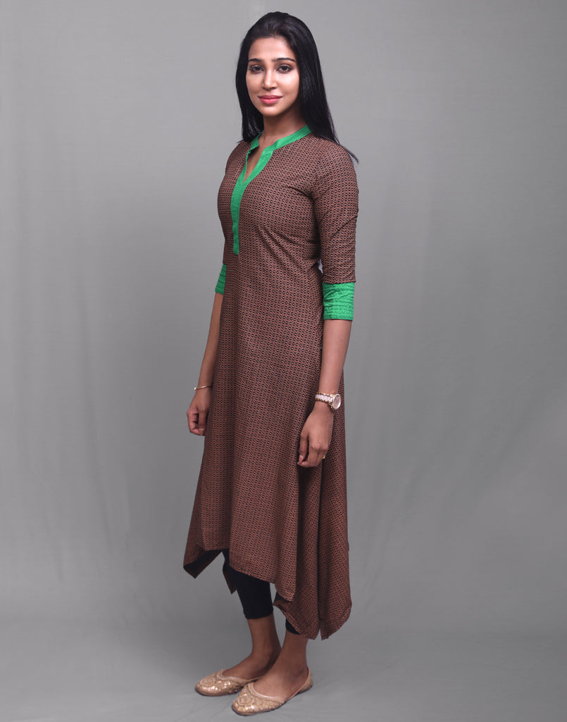 Friar Brown Modal Asymmetric Kurta