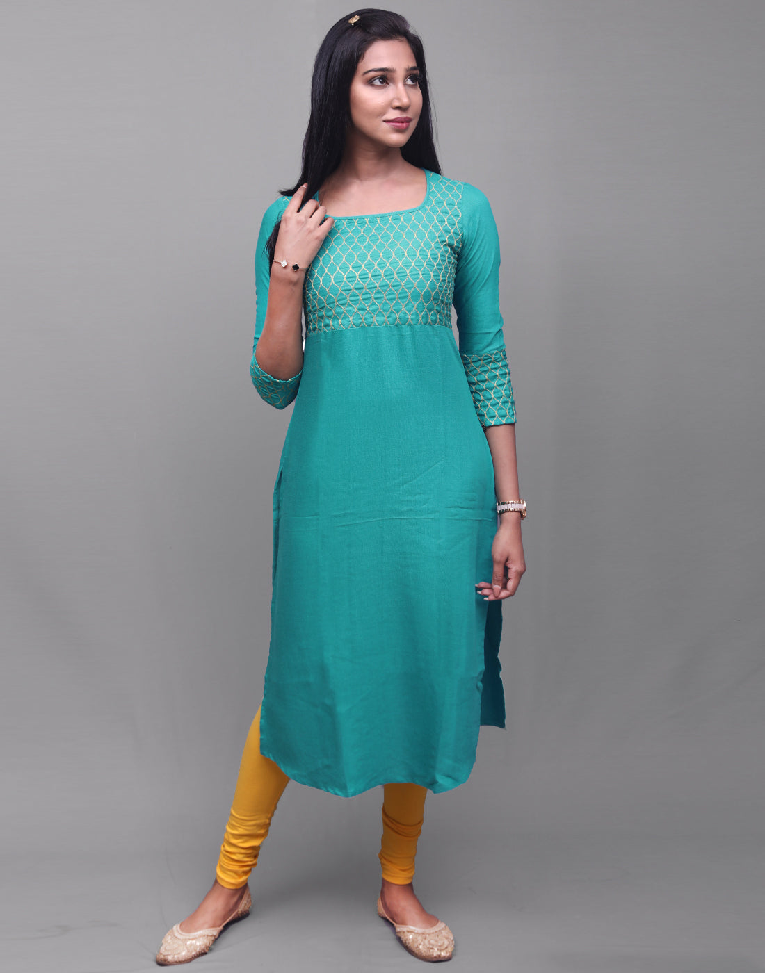 Sky Blue Rayon Pick&Pick Straight Cut Kurta