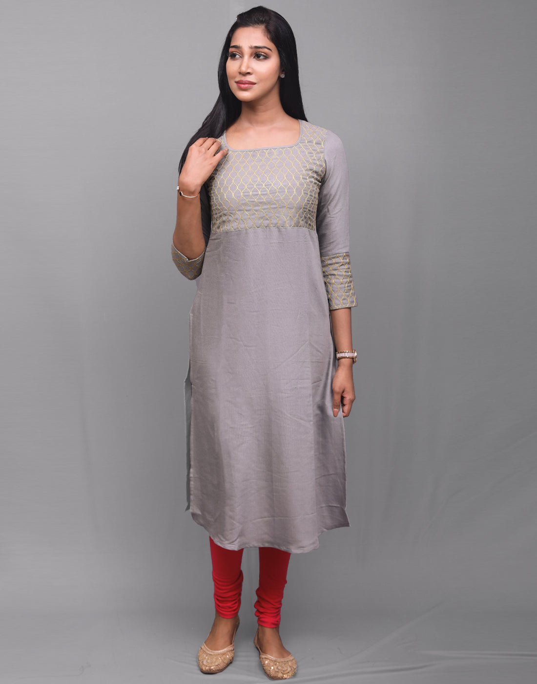 Ash Gray Rayon Pick&Pick Straight Cut Kurta
