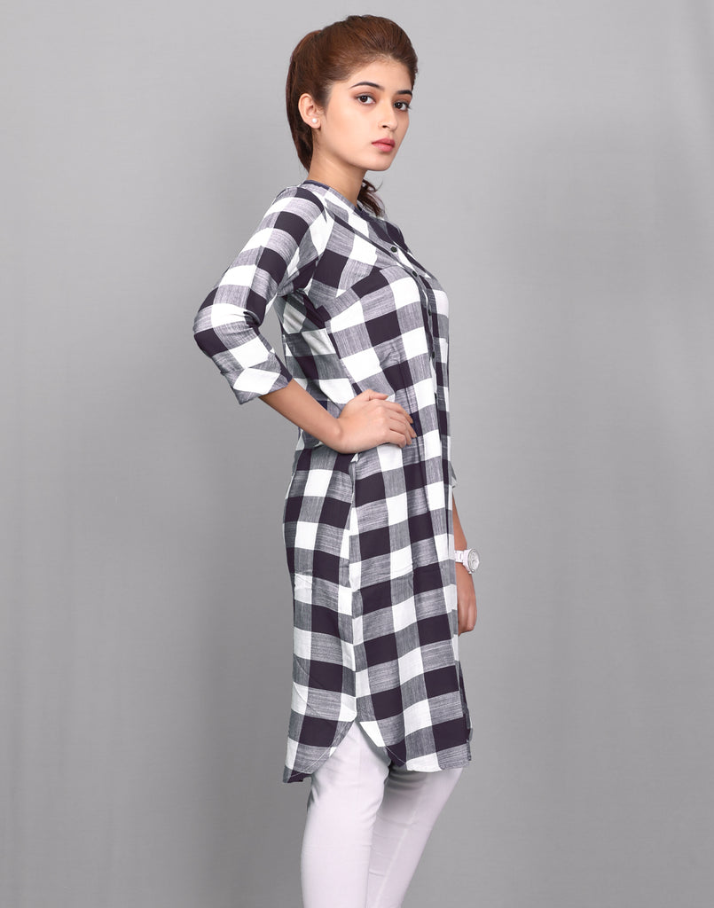 Black 'N' White Viscose Rayon Checked Tunic